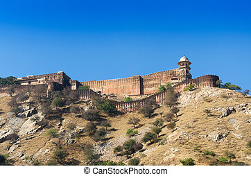 Ancient walls of Amber Fort with landscape in Jaipur,...