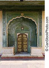 Green Gate in Pitam Niwas Chowk, Jaipur City Palace,...
