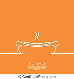 Hot Dog icon. Sausage grilled in a fresh bun. Outline....