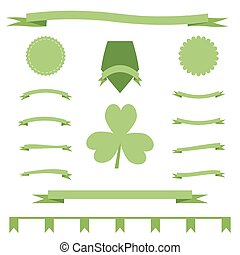 Green eco ribbons set of St. Patrick's Day