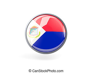 Round icon with flag of sint maarten - Metal framed round...
