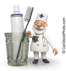 3d doctor dentist with Toothbrush - treatment of teeth...