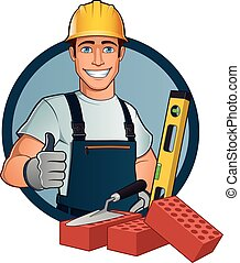 Bricklayer - Man with different tools, cartoon vector