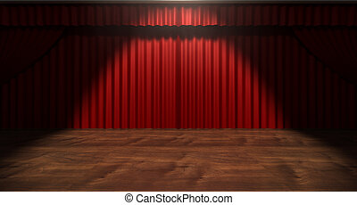 Red Stage Curtain - A regular theater stage with closed red...
