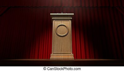 Wooden Podium On Curtained Stage - A regular theater stage...