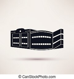 Parking building graphic icon, vector flat style. - Parking...