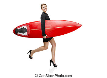 Businesswoman going to surf - Business woman holding a...