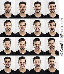 Man in different moods - Composite of multiple portraits of...