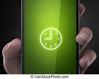 Clock alarm icon smart phone concept