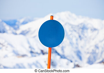 Close-up of round shaped attention sign in winter - Close-up...