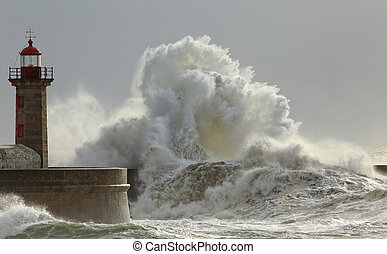 Sunny storm - Big waves in a sunny storm. Portuguese north...