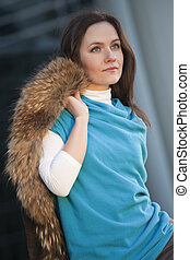 fashion woman with fur coat