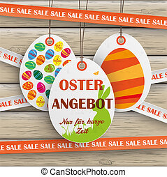 Sale Sticker Lines Easter Offer Wood - Price sticker with...