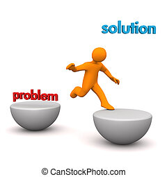 Manikin Problem Solution Jump - Orange cartoon character...