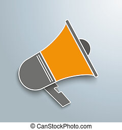 Bullhorn  - Colored paper bullhorn on the gray background.