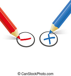 Red Blue Pen Pro Contra - Pro and contra list with pens on...