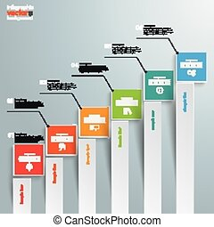 Rectangles Chart Growth Bars - Infographic with rectangles...