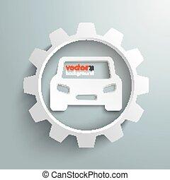 grande, blanco, engranaje, coche