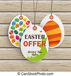 3 Easter Offer Price Sticker Wood - Price sticker with text...
