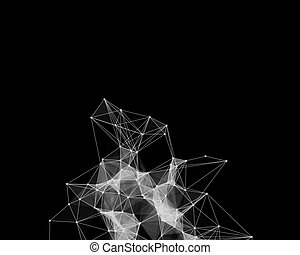 White cybernetic particles - Illustration of white...
