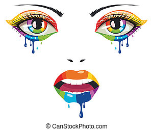 Face of Paint - Female face with colorful eyes and lips with...