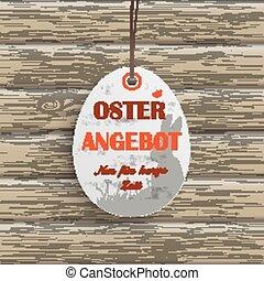 Osterangebot Egg Price Sticker Wood - Price sticker with...