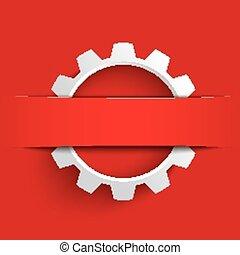 blanco, engranaje, rojo, bandera,
