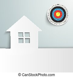 House Cover Target Sun - White house with target on the gray...