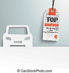 Car Cover Price Sticker Angebot - German text Top Angebot,...