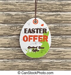 Easter Offer Egg Price Sticker Wood - Price sticker with...