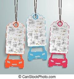 3 Cars Price Stickers - Price stickers with car symbols.