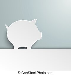 White Paper Piggy Bank Cover - White paper piggy bank on the...