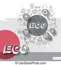 Paper and hand drawn eco emblem with icons background