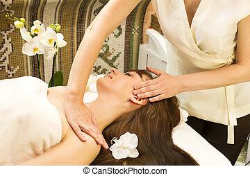 massagem, e, facial, cascas,