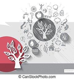 emblème, icônes, arbre, main, papier, fond, dessiné