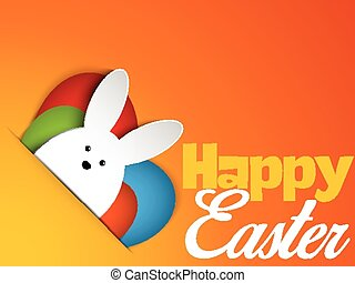 Vector - Happy Easter Rabbit Bunny on Orange Background