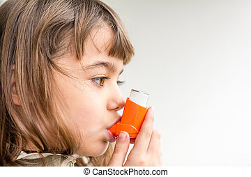 Seven year old girl breathing asthmatic medicine healthcare...