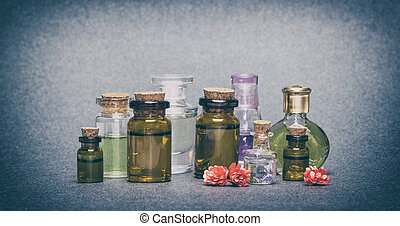 Natural aromatic essential oils - Close-up of a variety of...