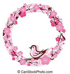 Cherry Blossoms Wreath - Cherry Blossoms or Sakura in...