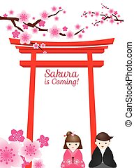 Cherry Blossoms, Torii Gate, Couple - Cherry Blossoms or...