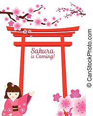 Cherry Blossoms, Torii Gate, Girl - Cherry Blossoms or...