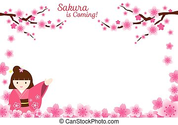 Girl and Cherry Blossoms Frame