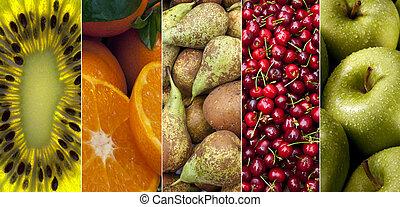 fresco, fruta,