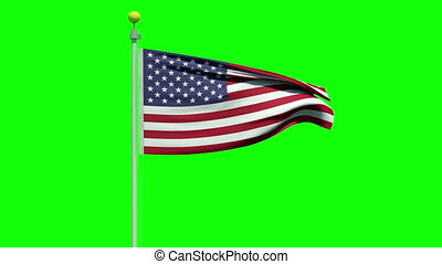 Waving American flag green screen