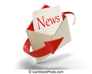 Letter news. Image with clipping path