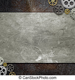 grunge metal with gears