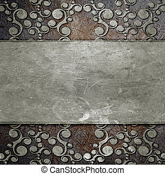 metal plate with ornament - grunge metal plate with classic...