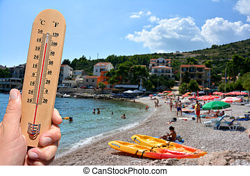 Extreme hot summer warning - A thermometer scale shows...