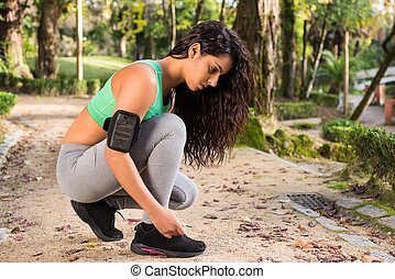 Fitness Woman - Fitness woman having a break on her exercise