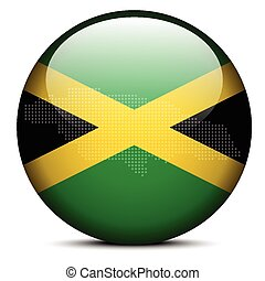 Map with Dot Pattern on flag button of Jamaica - Vector...